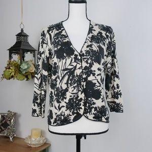 Ann Taylor Silk Cashmere Sweater Cardigan Floral